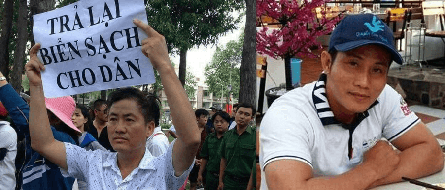 "Photos of Nguyen Van Duc Do (right), wearing a human rights hat, and Luu Van Vinh (left), at a pro-environment protest carrying a sign that reads, ""Return Clean Sea to the People""."