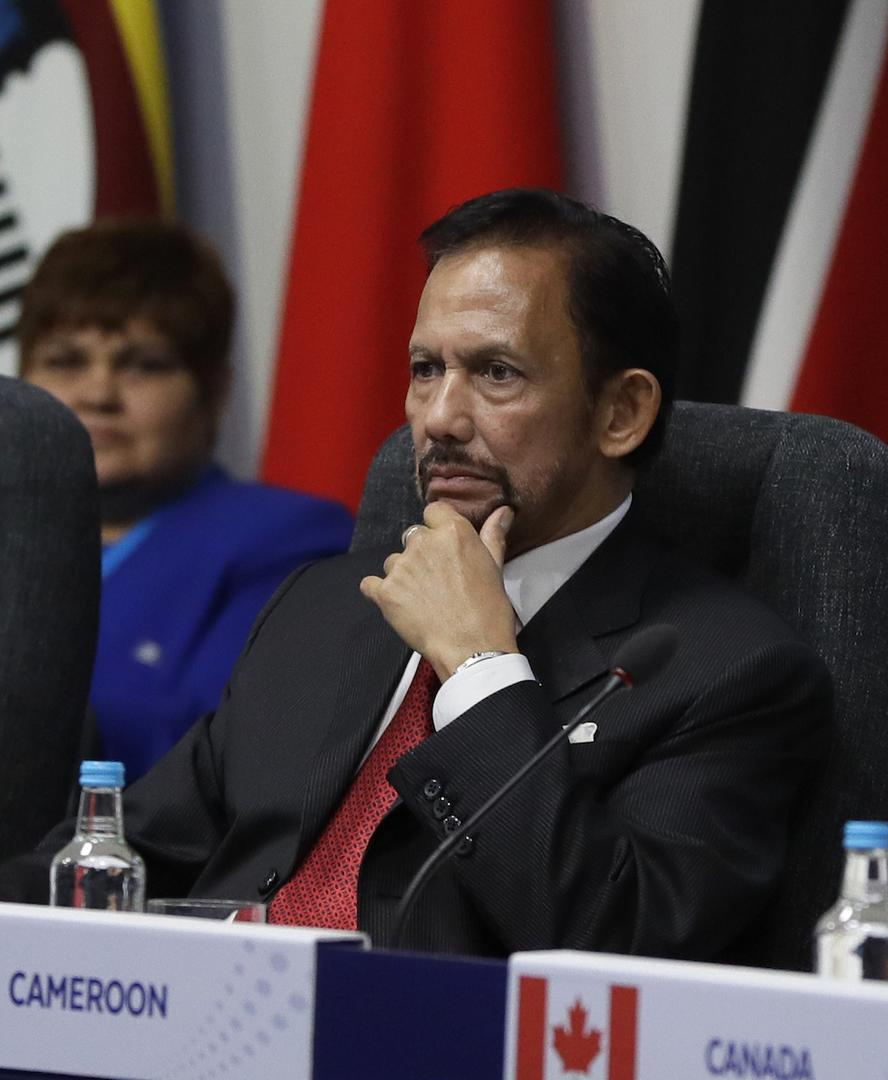 The Sultan of Brunei Hassanal Bolkiah listens during the first executive session of the CHOGM summit at Lancaster House in London, Thursday, April 19, 2018.