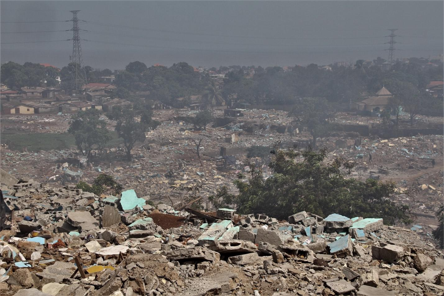 Rubble of demolished homes in the Dar-Es-Salam neighborhood of Conakry, Guinea's capital, on June 8, 2019.