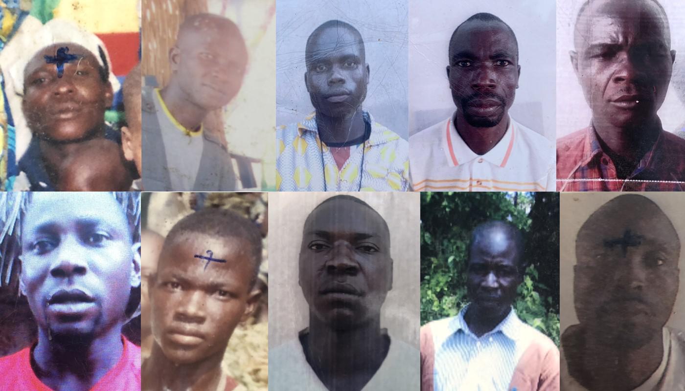 Rangée du haut, de gauche à droite : Augustin Vote (tué à Koundjili) ; Raphael Haoumi (tué à Lemouna) ; Zachée Gong-Pou (tué à Lemouna) ; Sosthène Kobaikera (tué à Lemouna) ; Evariste Ngororo (tué à Bohong)  Rangée du bas, de gauche à droite : Olivier Yab