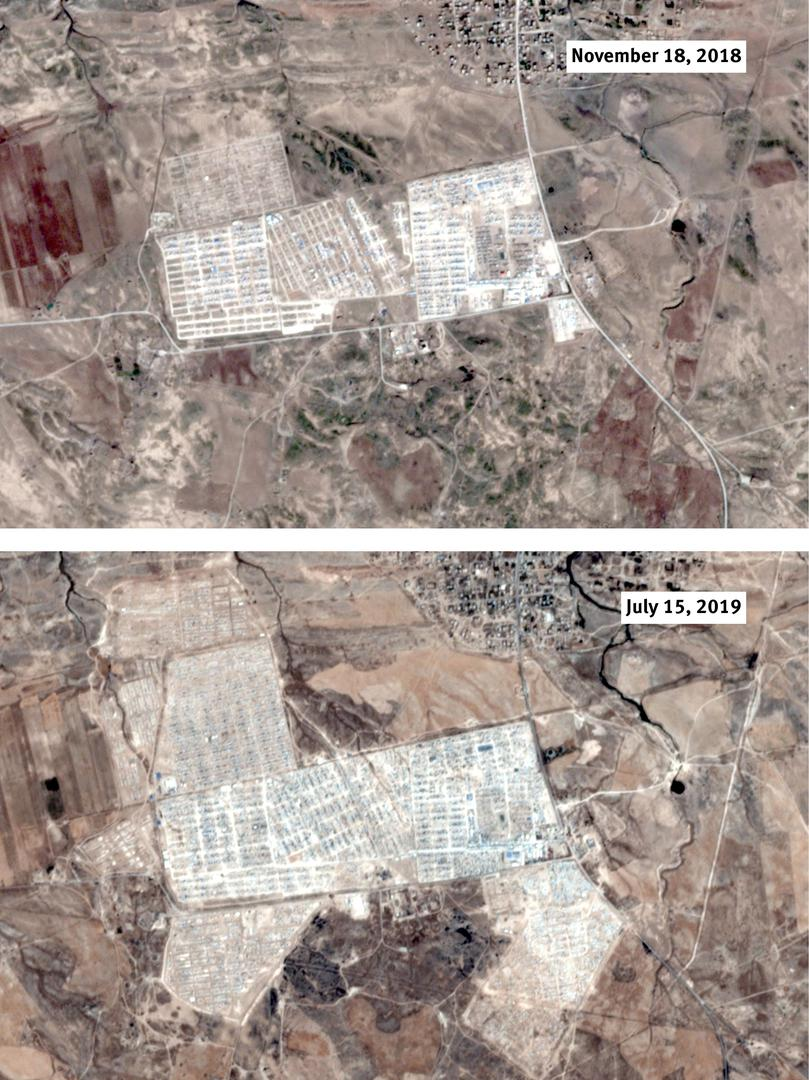 Al-Hol camp in northeast Syria has rapidly expanded with the influx of more than 63,000 women and children displaced by the offensive against the Islamic State (also known as ISIS) in Baghouz between December 2018 and April 2019. The area at lower right s