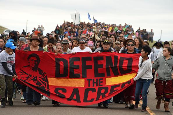 Native Americans protest construction of the Dakota Access oil pipeline in North Dakota on September 4, 2019. © 2019 AFP via Getty Images/Robyn Peck