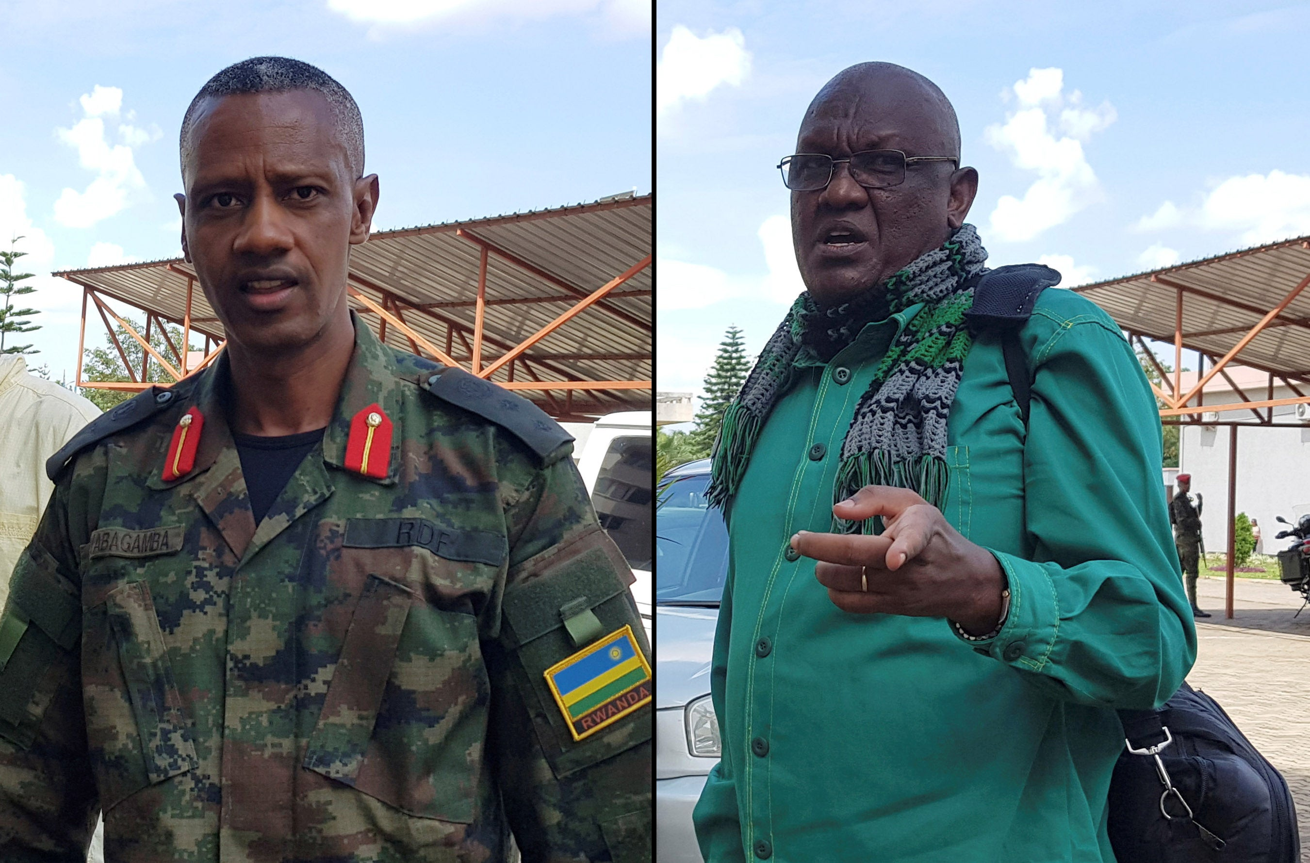 Colonel Tom Byabagamba (left) and retired Brigadier General Frank Rusagara (right) arrive at the court to appeal their 2016 conviction on charges including tarnishing the government's image and inciting insurrection, in Kigali, Rwanda, on December 27, 201