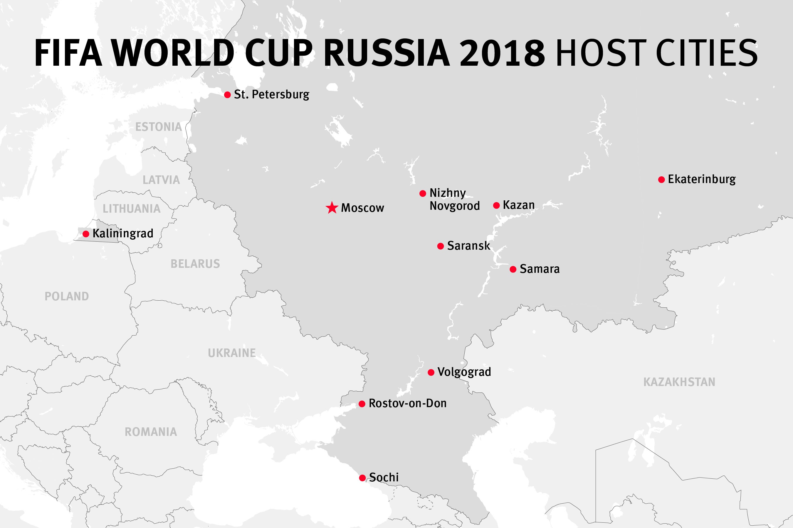Map of the FIFA World Cup Russia 2018 host cities