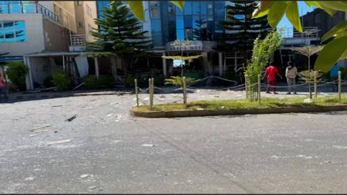 A video showing damage to the Brana Hotel in Axum, which, according to the metadata of the video, was taken on November 25, 2020.
