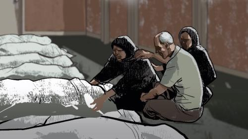 A drawing of parents claiming their dead son's body.