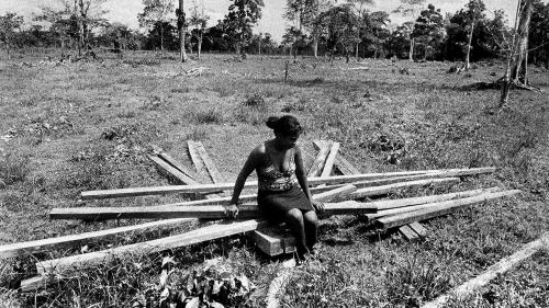 Paola Lance sits on the fallen structure of the house her family started to build in the Caño Manso community. Displaced in the late 1990s, Caño Manso community members started to return to their land in 2007 in the face of death threats and attacks.