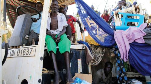 Displaced families camped inside the Tomping UN base in Juba on December 24, 2013, days after the conflict began.