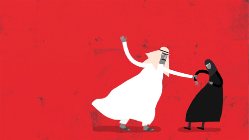 Screenshot of an animation about domestic abuse and male guardianship in Saudi Arabia