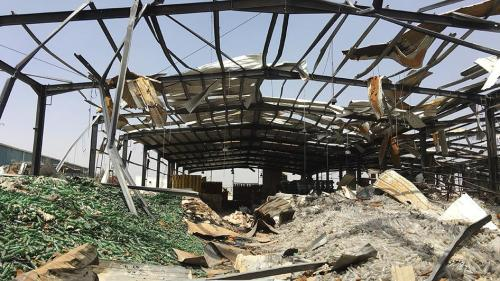 A picture showing a civilian factory destroyed in a Saudi-led Coalition airstrike in Yemen
