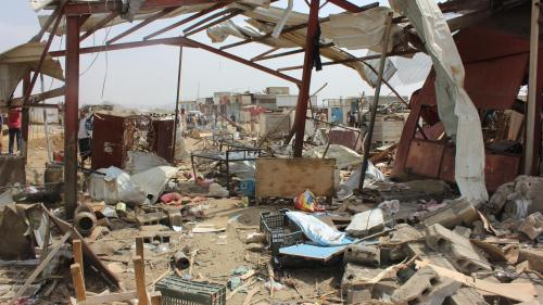 A picture that shows part of Mastaba Market destroyed after Saudi-led coalition strike.