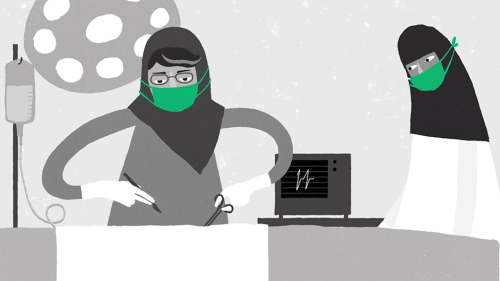 A screenshot of an animation about women's right to travel without male guardian permission in Saudi Arabia.
