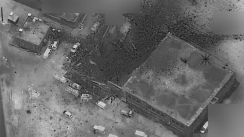 An aerial photograph released by the US Department of Defense after a March 16, 2017 US airstrike in al-Jinah, Syria, showing damage to part of a mosque.