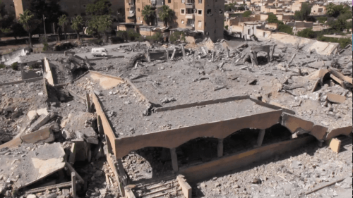 Destroyed market in Tabqa, Syria, after a US-led coalition airstrike.
