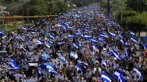 Demonstrators protest against police violence and the government of Nicaraguan President Daniel Ortega in Managua, Nicaragua, April 23, 2018.