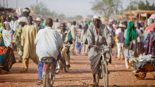 People converge on market day in Djibo, in the Soum Province of Burkina Faso's Sahel administrative region. The majority of attacks by armed Islamist groups active in Burkina Faso have been on villages in the Soum Province.