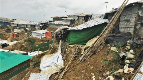 A landslide in the Kutupalong-Balukhali refugee camp in Bangladesh on May 18, 2018 washed away a shelter housing 17 Rohingya refugees, all of whom were unharmed.