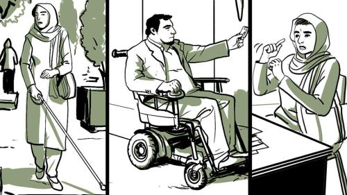 Illustration shows people with disabilities in Iran.