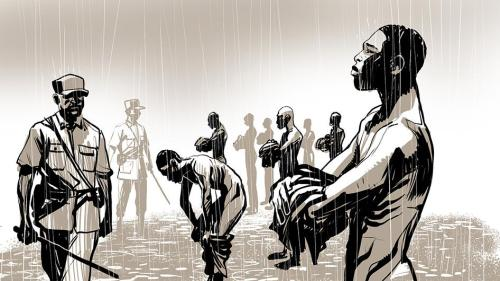 An illustration showing prisoners being tortured in Jail Ogaden, Ethiopia.