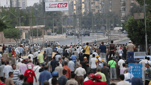 Rab'a square protest in Cairo, Egypt.
