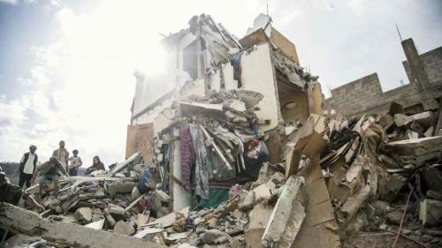 Yemen apartment destroyed by airstrike.