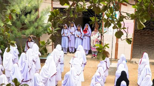 Students at morning exercises at Behar Colony Government Secondary school for girls located in the Lyari neighborhood of Karachi, Pakistan.