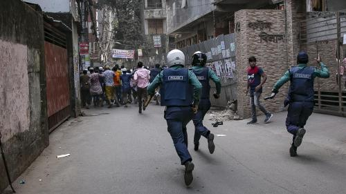 Police rush Bangladesh Nationalist Party (BNP) supporters at a protest on February 9, 2018, Dhaka, Bangladesh.