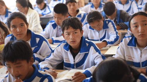 Tibetan students in a classroom