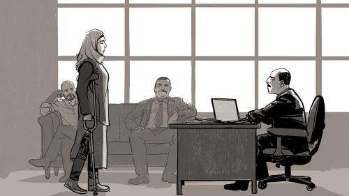 Illustration of woman with crutches confronting boss behind desk