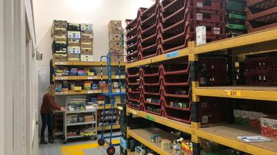 Shelves running low on supplies at the Black Country Food Bank warehouse, Brierley Hill, West Midlands. The warehouse stores food for 23 distribution centers in the region. October 7, 2019.