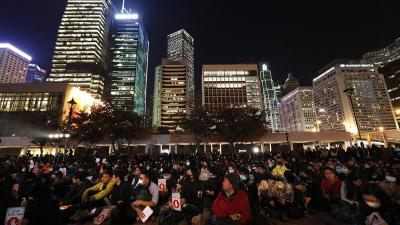 Protesters gather during a rally against the police's use of tear gas in Hong Kong, December 6, 2019.