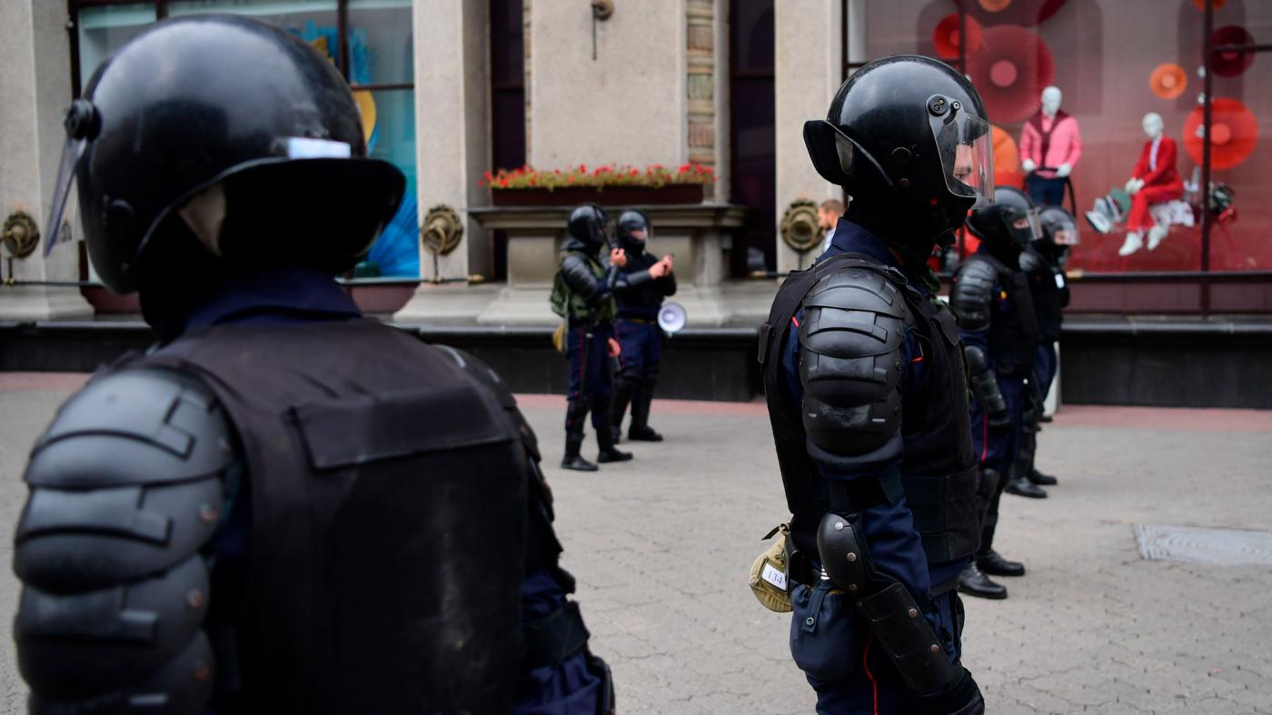 Riot police stand guard during demonstrations against police violence in Minsk, Belarus, September 6, 2020.