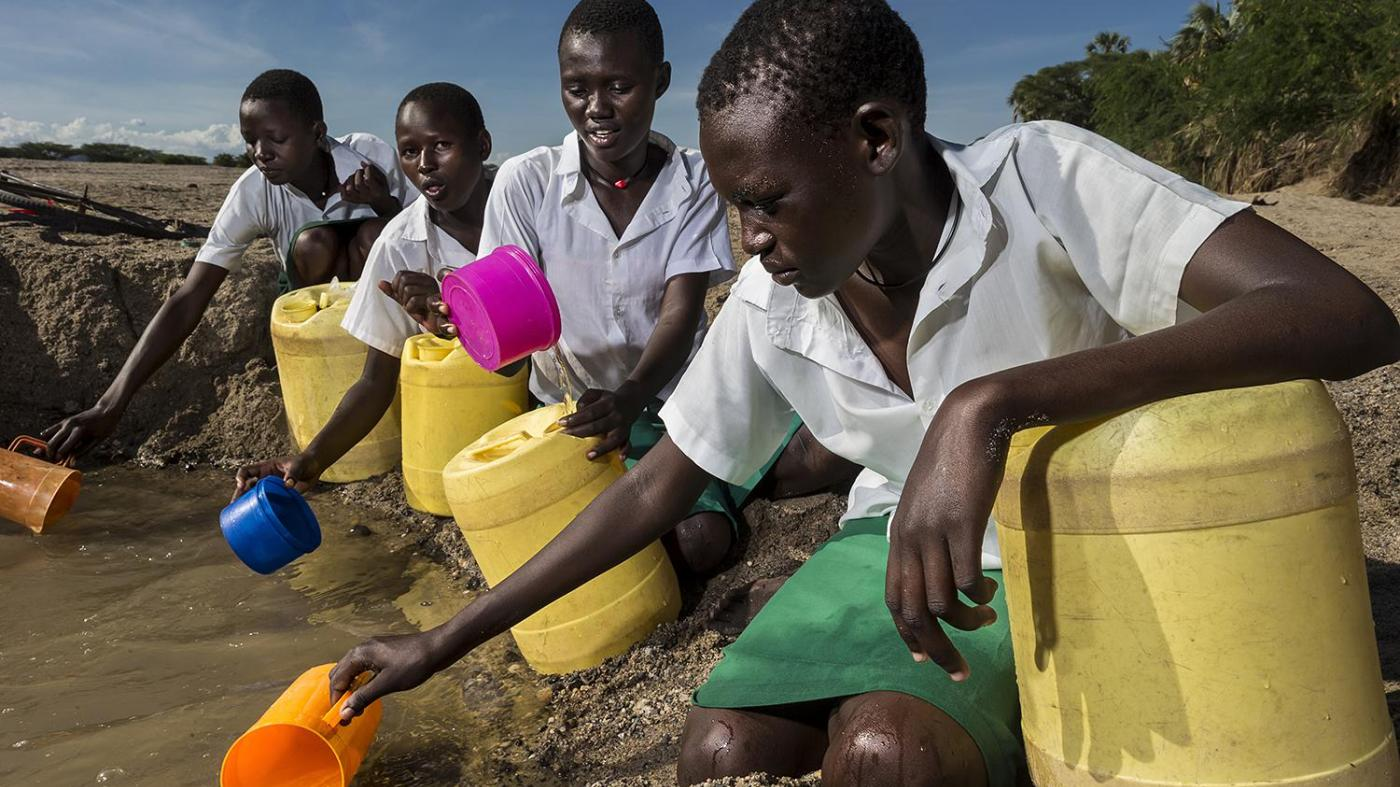 girls from the Kalokol Girls Primary School fetch water