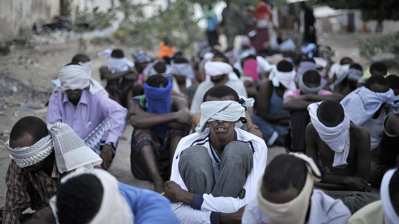Photo of Somali children blindfolded.