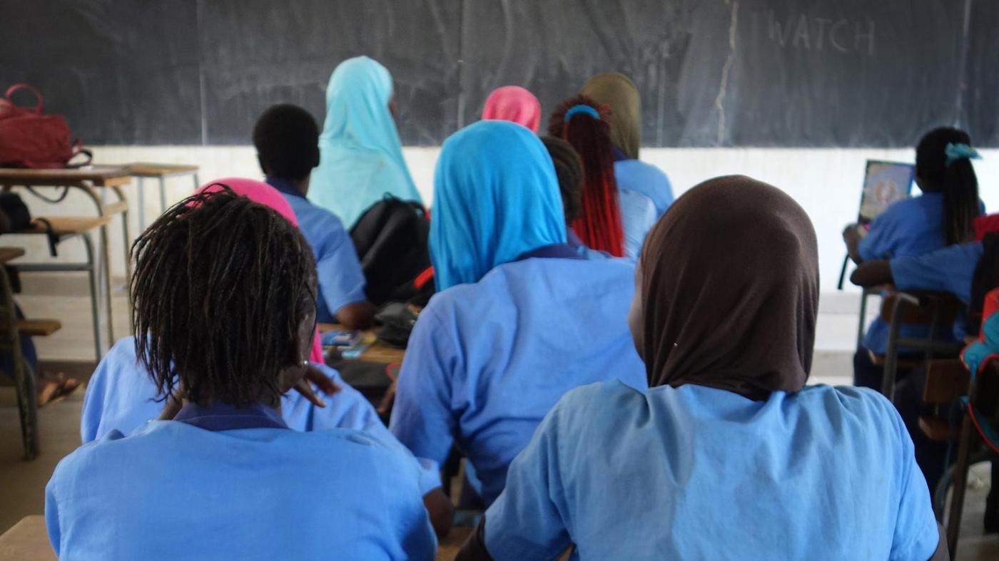 Secondary school girls in a classroom in a middle secondary school in Sédhiou, southern Senegal.