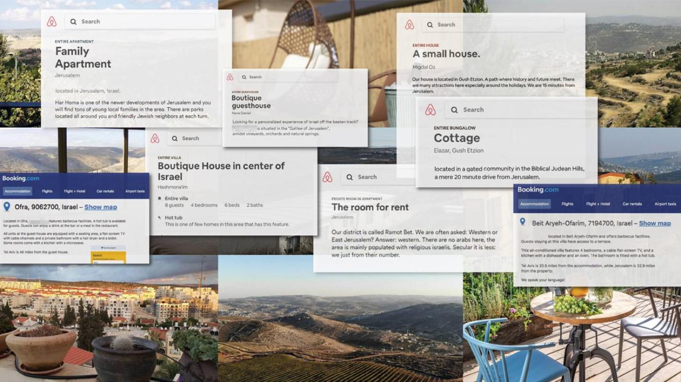 Listings by the global travel companies Airbnb and Booking.com for properties in unlawful Israeli settlements in the occupied West Bank.