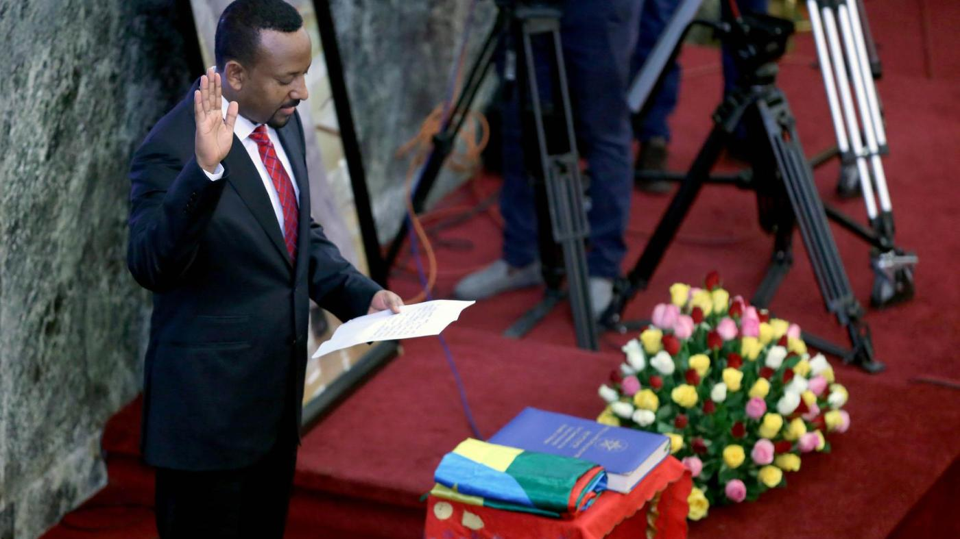 Abiy Ahmed, newly elected prime minister of Ethiopia, is sworn in at the House of Peoples' Representatives in Addis Ababa, April 2, 2018. © 2018 Hailu/Anadolu Agency/Getty Images