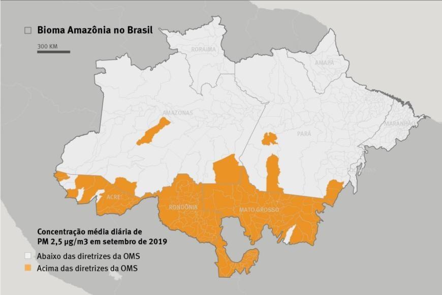 fumaça de queimadas na Amazônia Brasileira