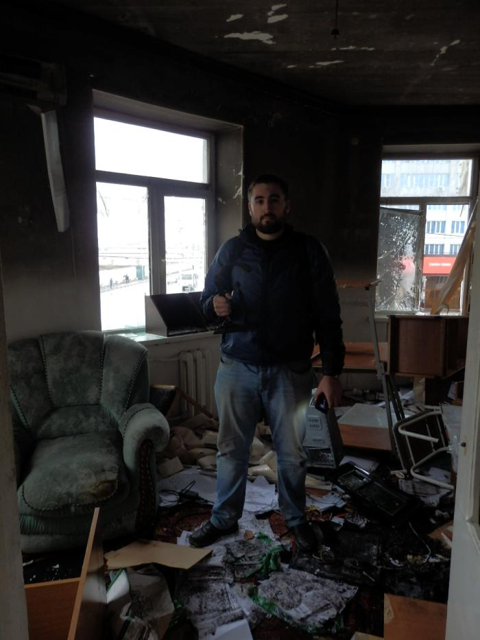 Sergei Babinets in the office of the Joint Mobile Group in Grozny, Chechnya on December 14, 2014.