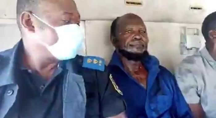 Ne Muanda Nsemi, the leader of the BDK, in a vehicle after his arrest in Kinshasa on April 24, 2020.