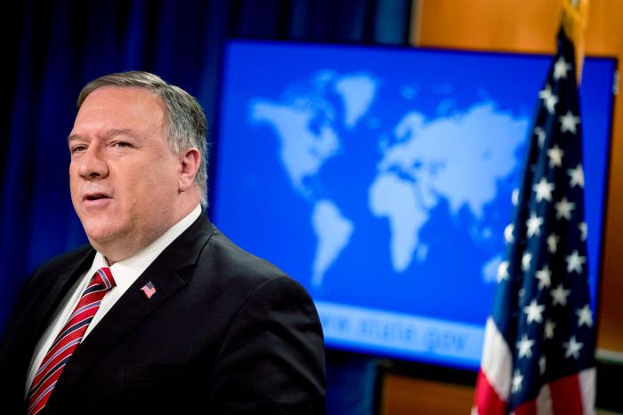 US Secretary of State Mike Pompeo speaks at a news conference at the State Department in Washington, April 29, 2020.