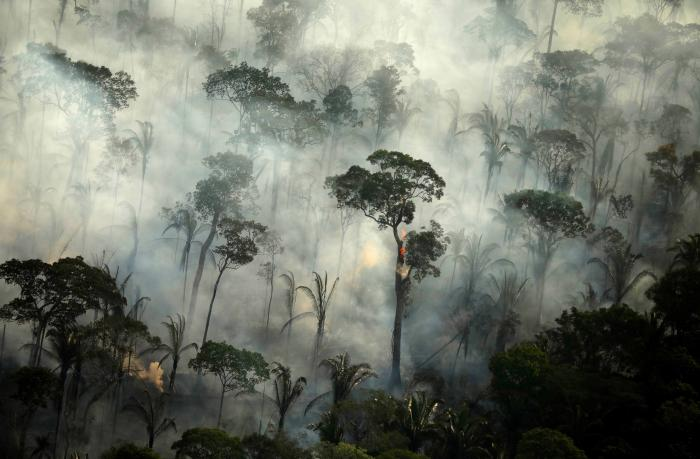 Smoke billows during a fire in an area of the Amazon rainforest near Porto Velho, Rondonia State, Brazil.