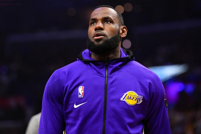 Los Angeles Lakers Forward LeBron James looks on before a NBA game in Los Angeles, California, March 8, 2020.