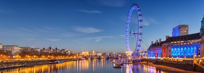 The London Eye lit blue for Human Rights Day 2018.