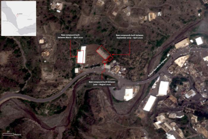 Satellite imagery recorded on August 9, 2020, shows the increase in the number of building compounds in the possible detention center of al-Dayer, Jizan Province, Saudi Arabia. Some of the buildings have been finalized in April 2020. Satellite imagery © 2020 Planet Labs