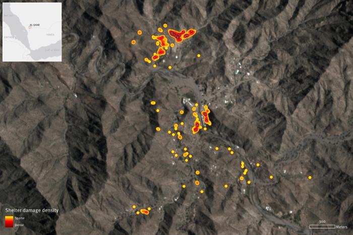 Satellite imagery recorded on April 22, 2020, shows approximately 300 informal tent shelter structures destroyed in al-Ghar, Saada governorate, Yemen. The shelter destruction started on or around April 17 and continued through 19th and ended around the 22nd. Almost the totality of the encampment located north of the river has been completely destroyed. Damage analysis by Human Rights Watch. Satellite imagery © 2020 Planet Labs