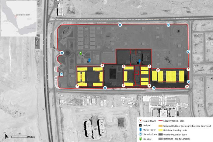 Satellite imagery showing the complex of the Jizan Detention Center in Jizan Province, Saudi Arabia. Satellite imagery © 2020 Maxar Technologies