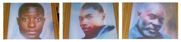 De gauche à droite : les membres du parti politique UDPS Héritier Mpiana, Mardoché Matanda et Dodo Ntumba. Leurs corps ont été retrouvés dans la rivière Lubumbashi en RD Congo quelques jours après une manifestationpolitiquequi a eu lieu le 9 juillet 2020.