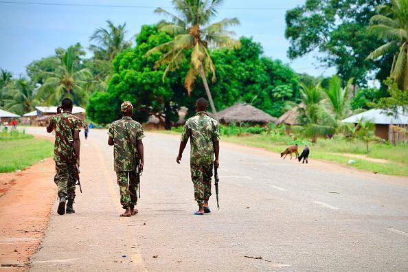 Mozambican army soldiers patrol the streets of Mocimboa da Praia in March 2018.