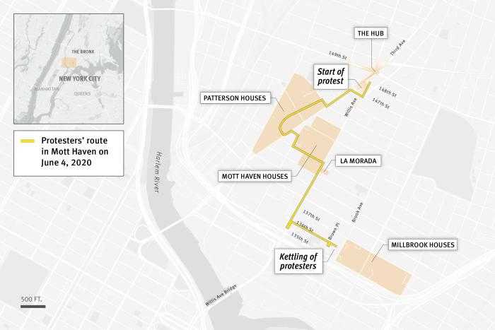 A map of the protest route in Mott Haven